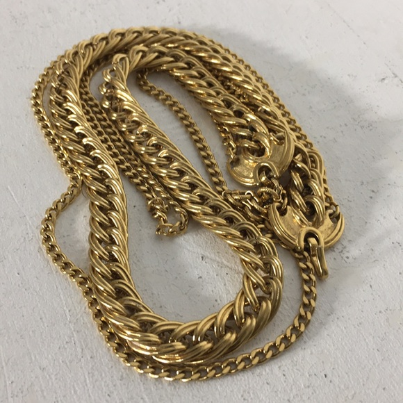 Monet Jewelry Vintage Gold Tone Multiple Chain Necklace Poshmark